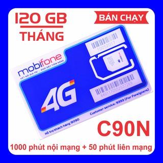 [Free 30 ngày] Sim 4G Mobi C90N 120 GB/tháng + 1000 phút gọi nội mạng + 50 phút liên mạng