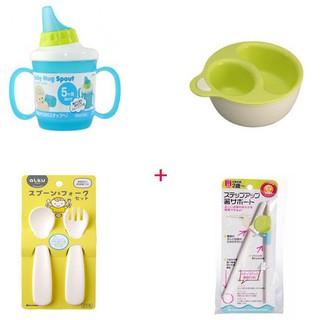 Combo Cốc Tập Uống + Bát Chia Ngăn + Thìa Dĩa Nhựa + Đũa Tập Ăn (Nhật)