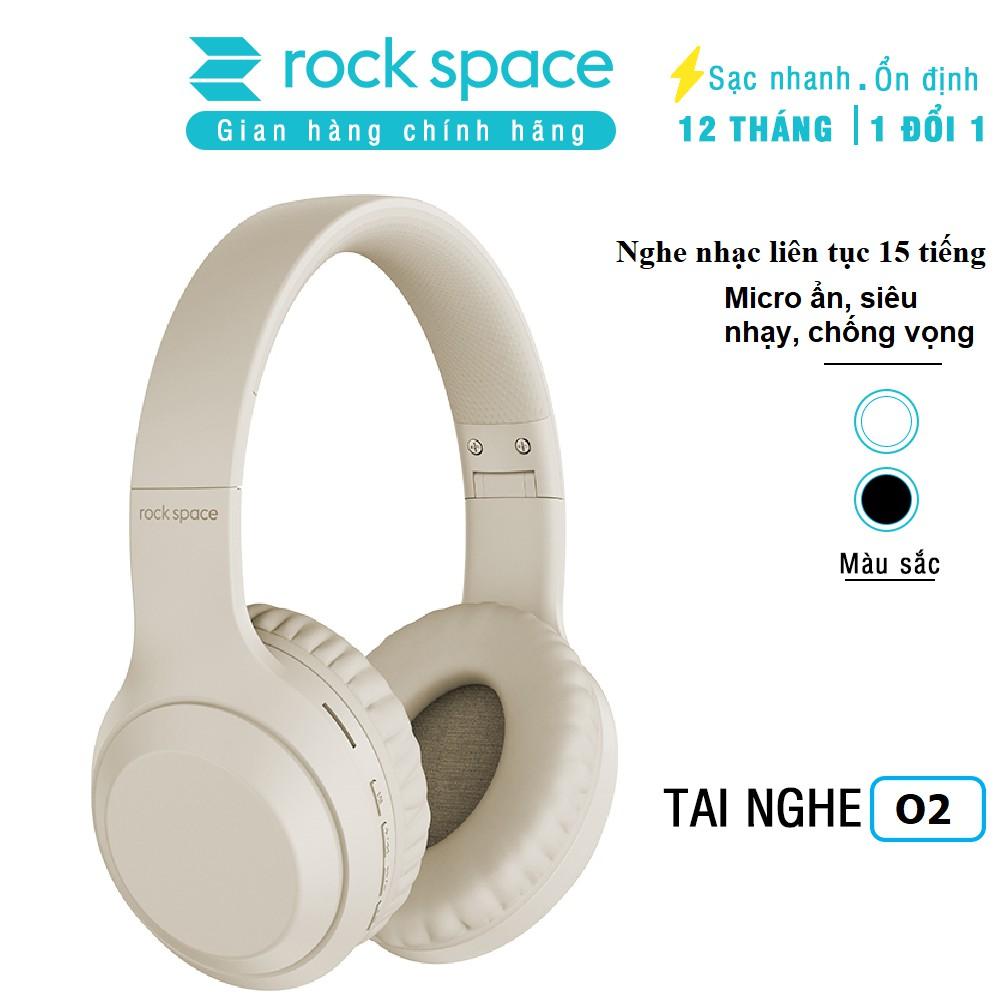 Tai nghe không dây bluetooth chụp tai Rockspace O2, có mic, chơi game, nghe nhạc liên tục 15h, hàng chính hãng BH 1 năm, Màu kaki sang trọng