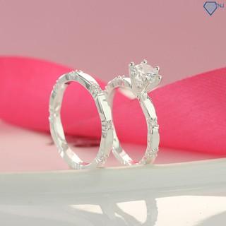 Nhẫn đôi bạn thân, nhẫn cặp bạc tình bạn đẹp đính đá khắc tên ND0229 - Trang Sức TNJ