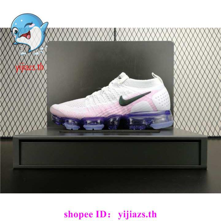 cod original Official Nike Air VaporMax Flyknit Breathable Men's Running Shoes Outdoor Sneakers Lightweight white purple