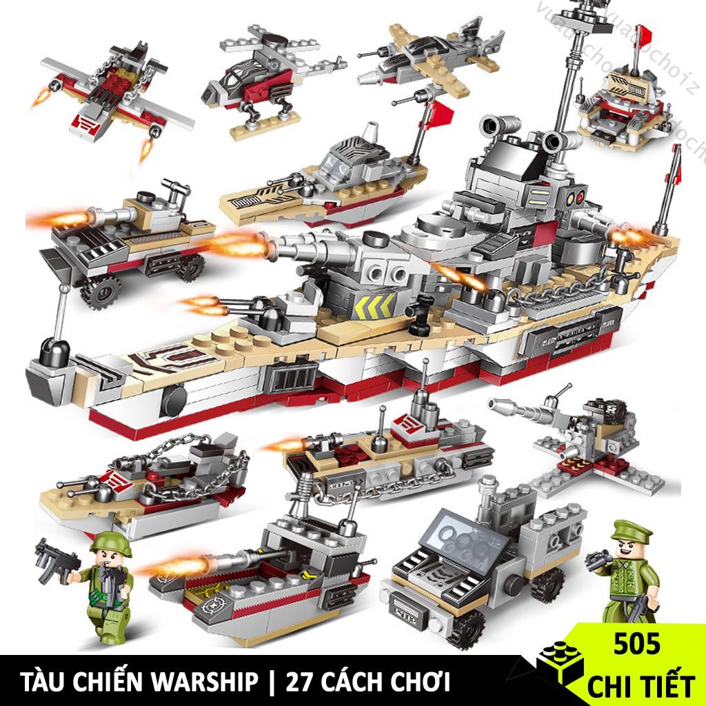 [502 CHI TIẾT] ĐỒ CHƠI LEGO CHIẾN HẠM WARSHIP ĐỒ CHƠI MINI TÀU CHIẾN 8 TRONG 1