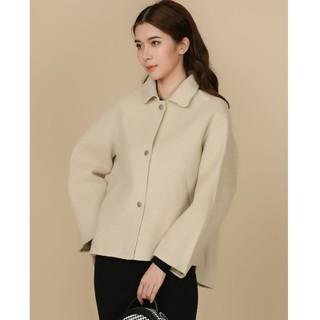 Áo dạ be lông cừu vạt lệch Elise thumbnail