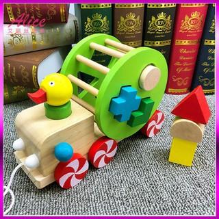 [Giảm Giá] Đồ chơi Xe kéo con vịt thả hình khối – Phát triển tư duy cho bé