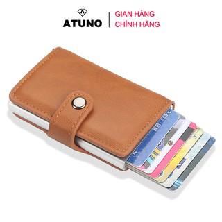 Ví Mini Cầm Tay, Ví Đựng Thẻ ATM, Giấy Tờ Tùy Thân ATUNO AT01 Nhiều Ngăn Kèm Nút Bấm