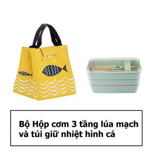 Bộ hộp cơm lúa mạch 3 tầng và túi giữ nhiệt hình cá