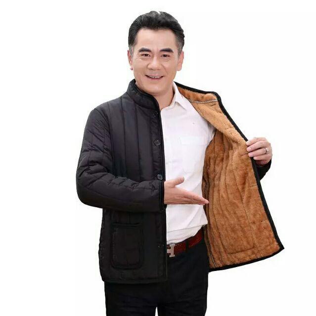 Áo khoác trung niên lót lông ÁO PHAO CHO BA mùa đông [Hàng order]