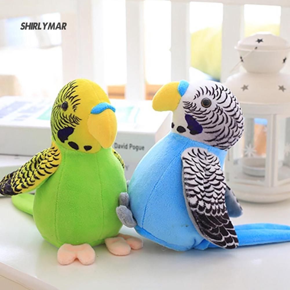 ஐSr Electric Stuffed Plush Talk Parrot Recording Waving Wings Education Kid Toy