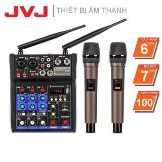 Bộ Sound Card Micro Bluetooth Karaoke hỗ trợ livestream JVJ BT36 – Mixer kèm mic không dây Auto Tune chuyên nghiệp BH 6T