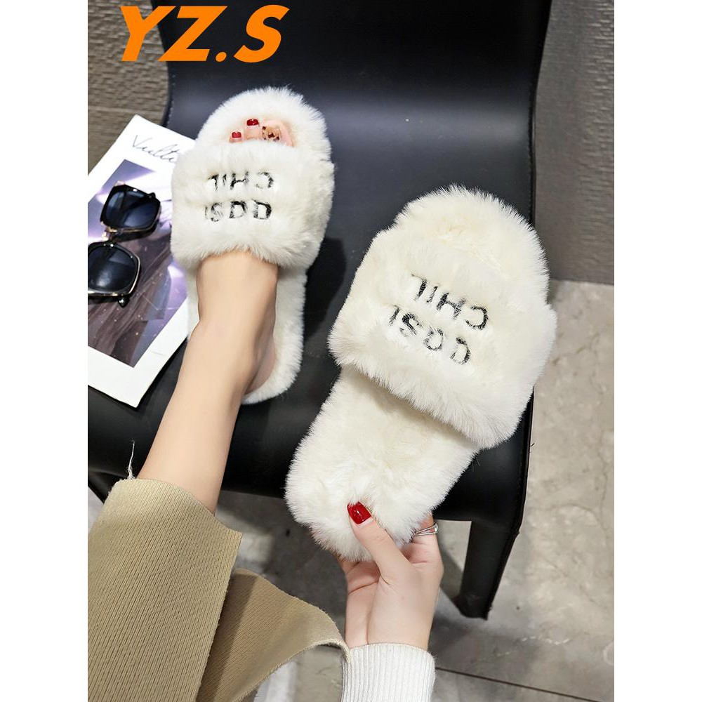 Lin with the paragraph 2018 summer Korean fashion fur slippers women wear thick-soled wild rabbit fur flat shoes female