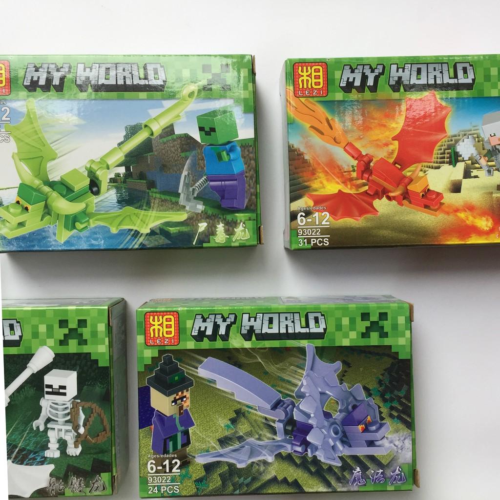 Xếp hình Lego My World rồng (8 mẫu)
