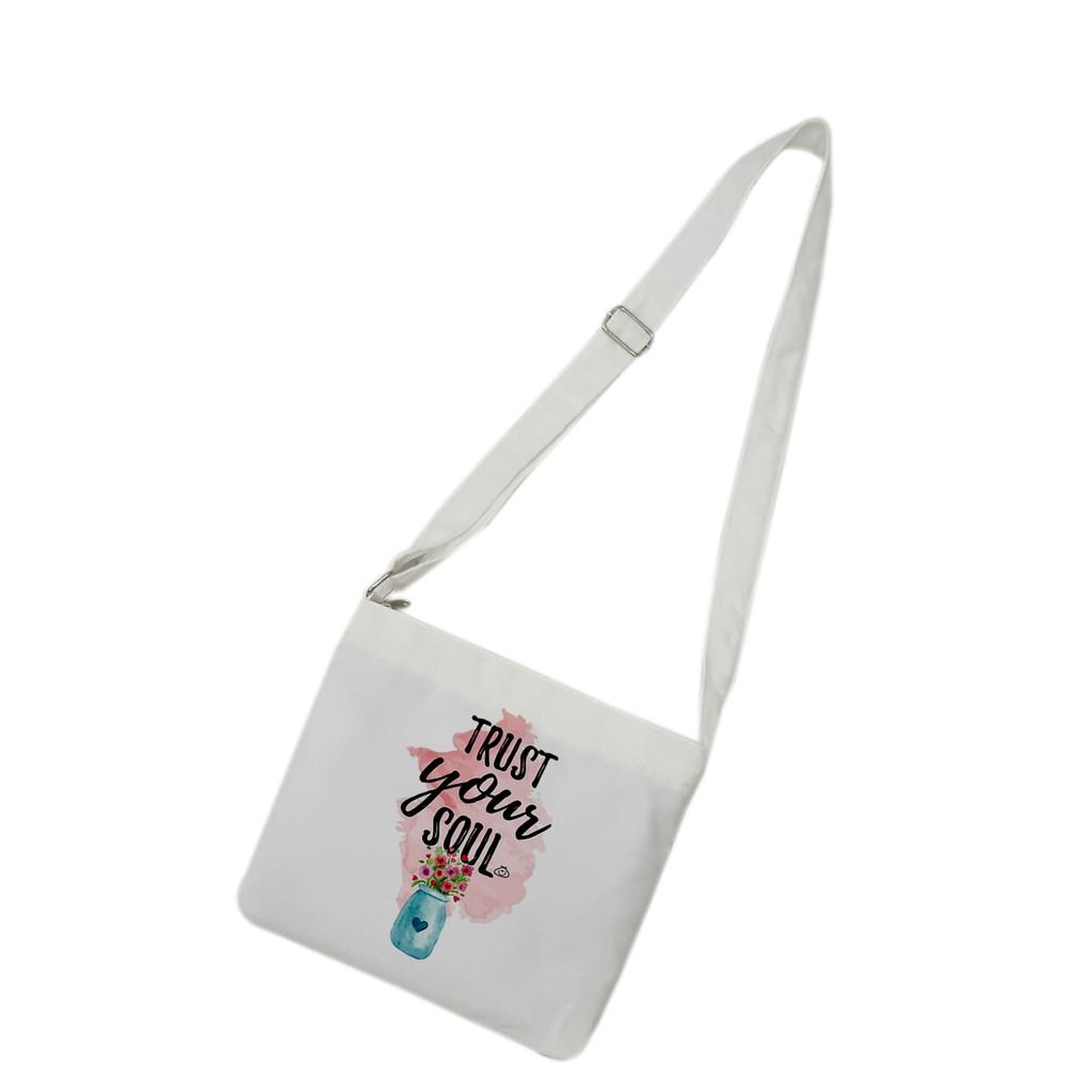 [Mã FAMALLT5 giảm 15% đơn 150K] Túi tote mini đeo chéo vải canvas mềm, dày TROY in hình Just your soul