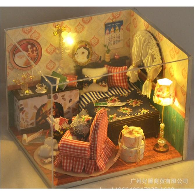 Mô hình nhà búp bê phòng ngủ ghế caro đỏ Winter Ballad