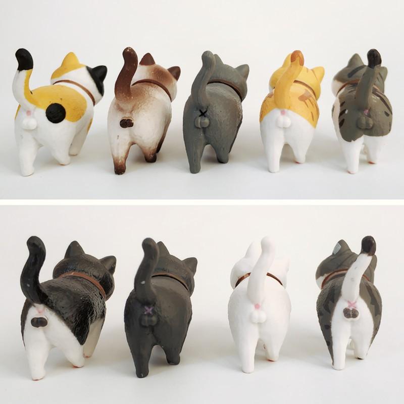 [1 mèo ngẫu nhiên] Mô hình mèo bi đi bộ để bàn mini, tiểu cảnh, trang trí bàn học, bàn làm việc, tủ sách