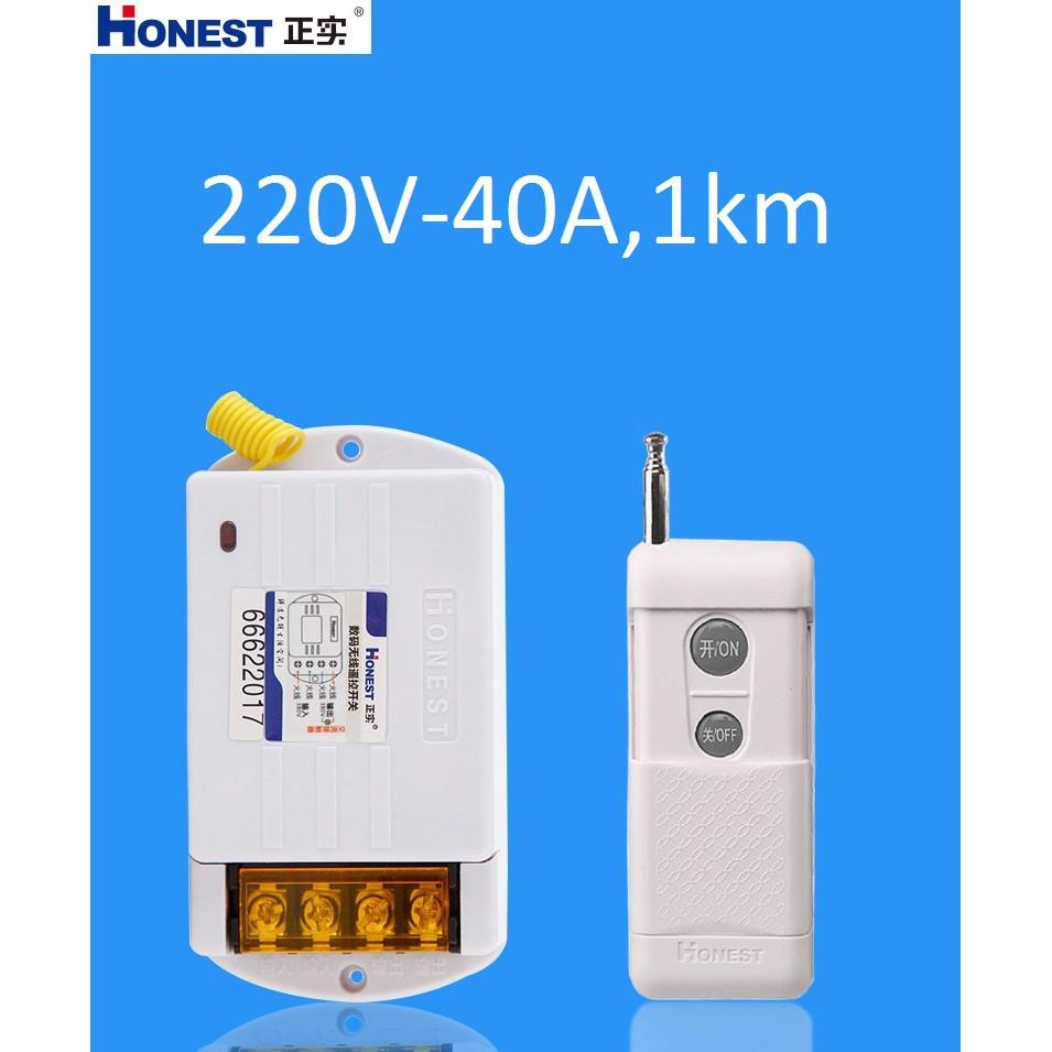 Công tắc điều khiển từ xa  Honest HT-6220KGD công suất lớn 220v 40A 1000m dùng cho máy bơm ,moto điện.. Hệ thống nhà thông minh
