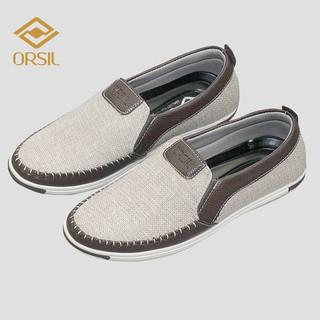 [Mã FAMALLT5 giảm 15% đơn 150K] Giày lười nam vải jean ORSIL màu nâu sáng trẻ trung - MD1