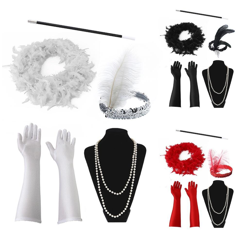 Halloween Flapper Girl Fancy Dress Accessories 5Pcs Set Charleston Gangster Gats