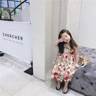 Đầm bé gái dạo phố phối hoa lá 2 dây