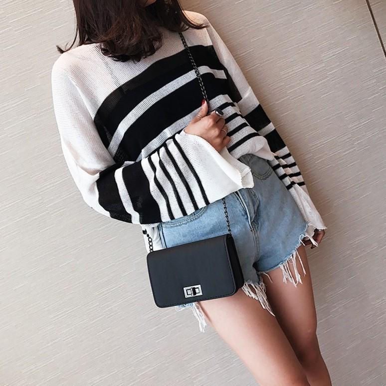 Túi đeo chéo mini nữ dây xích thời trang Hàn Quốc, hàng Quảng Châu xịn chất da lì xước hàng đẹp