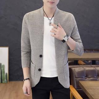 Áo Khoác Cardigan Dệt Kim Dáng Ôm Thời Trang Xuân Thu Cho Nam