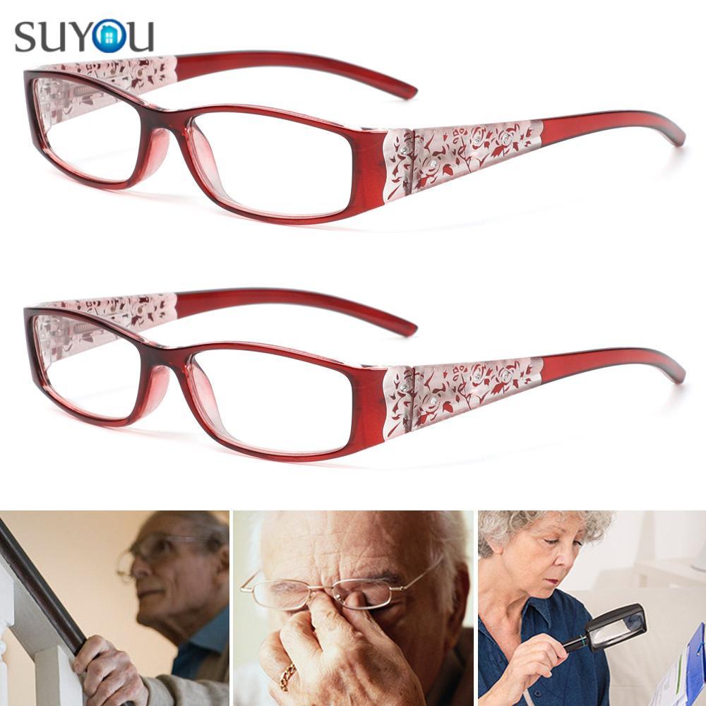 SUYOU Men Women Fashion Presbyopic Eyewear Anti-blue Rays Printing Eyeglasses Anti Blue Light Reading Glasses Vision Care Ultralight Retro Classic...