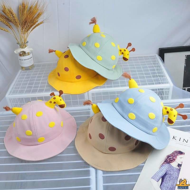 Mũ xinh tai bèo cho bé gái bé trai - Bucket mũ/nón trẻ em vành tròn chất cotton hình hươu cao cổ 3D cho bé 6-3 tuổi