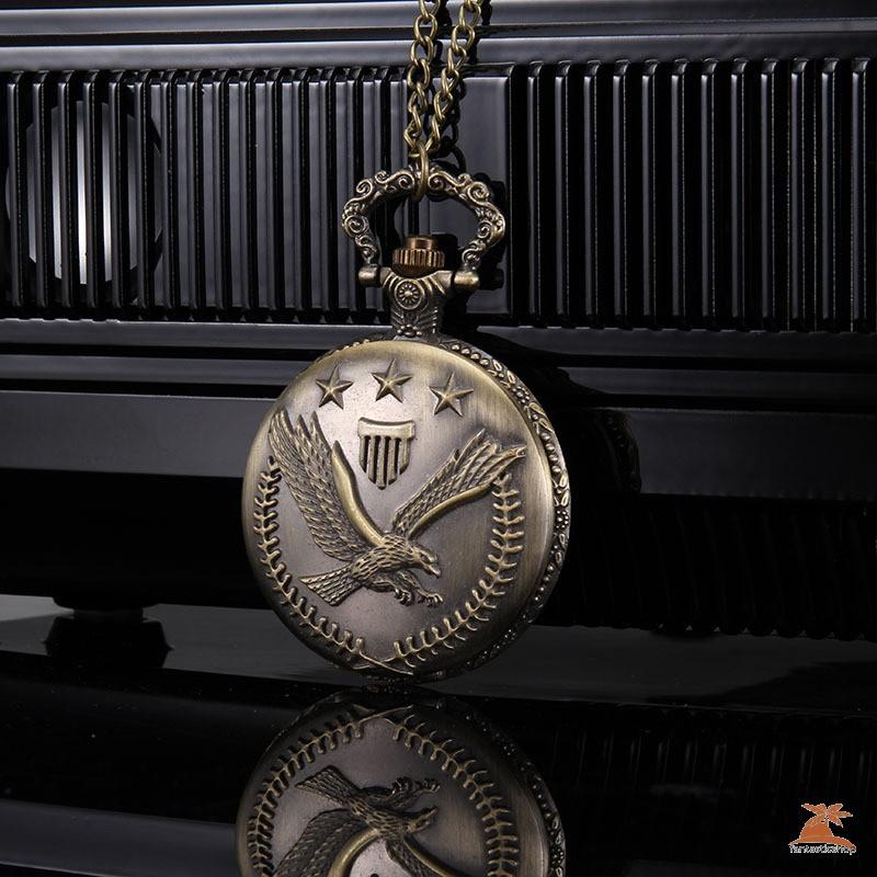#Đồng hồ bỏ túi# 1pc Men Women Quartz Pocket Watch Star Olive Branch Carved Case with Chain