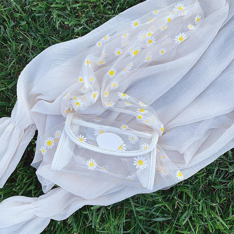 Túi Đeo Chéo Trong Suốt In Hoa Cúc Thời Trang Dành Cho Nữ