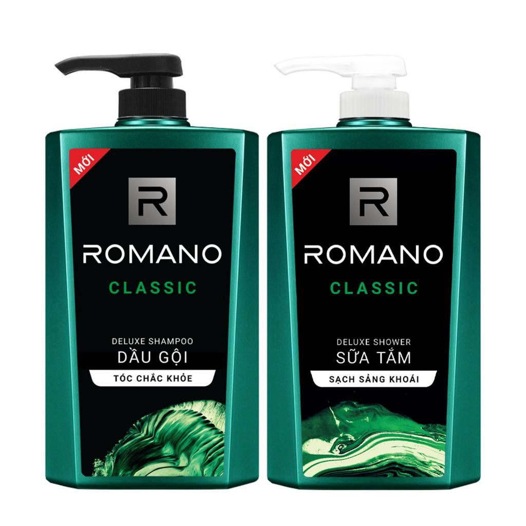 [Mã COSMALL25 -10% ĐH 250K]Combo Dầu gội & Sữa tắm Romano Classic cổ điển lịch lãm 650g/chai