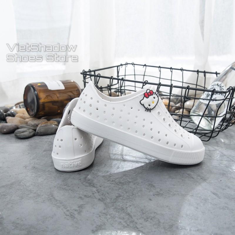 [Tặng 04 stickers] Giày nhựa NATIVE trẻ em - chất liệu nhựa E.V.A mềm, siêu nhẹ, không thấm nước - Màu Trắng