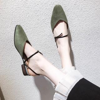 Giày sandal nữ đế bệt bít mũi quai dây kiểu dáng cổ điển vintage