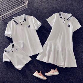 Áo gia đình ❤️FREESHIP❤️ Set áo váy thun gia đình có cổ màu trắng thêu hình đẹp AG23 (có ảnh thật)