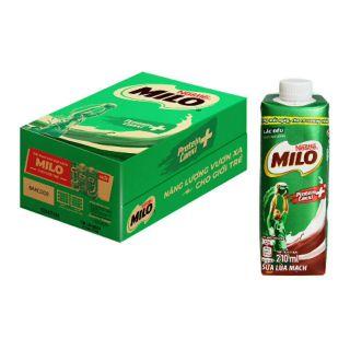thùng 24 hộp thức uống milo lúa mạch 210ml (lắp vặn)