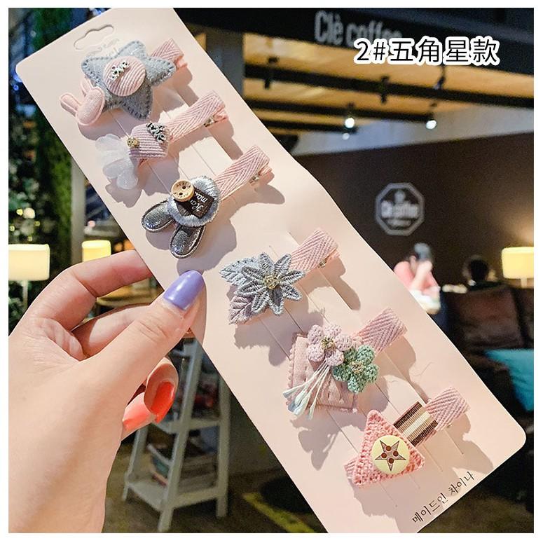 Set 6 kẹp tóc xinh xắn phong cách Hàn Quốc cho bé yêu D2