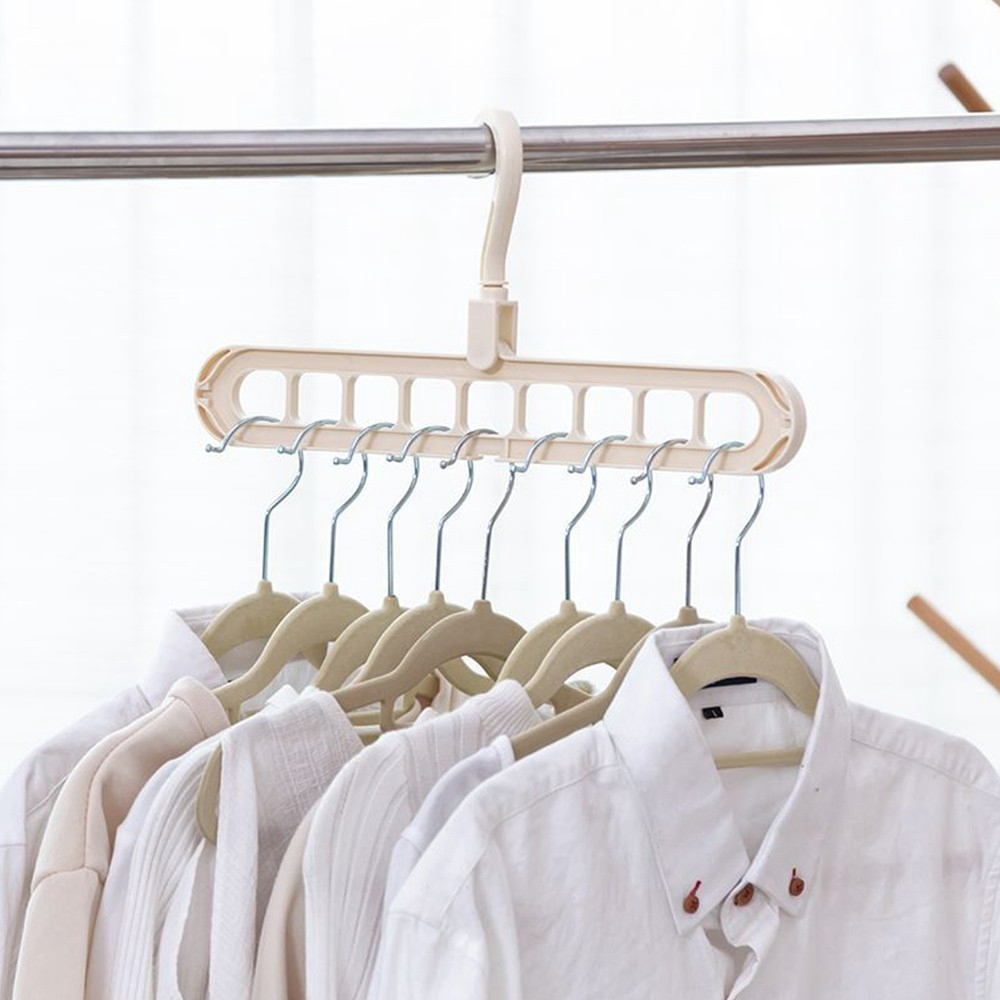 Multi-functional Folding 9-hole Clothes Hanger For Household Balcony