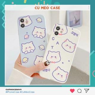 Ốp cute cat vân da dẻo mịn Hàn Quốc dành cho iPhone 11 Pro Max 7 8 Plus X XsMax XR Cú Mèo Case