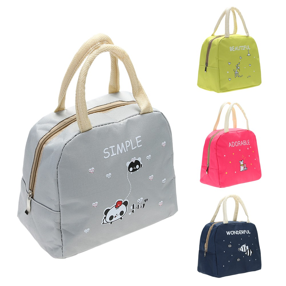 Cartoon Print Handy Thiness Insulated Picnic School Lunch Bag Amoucese.vn