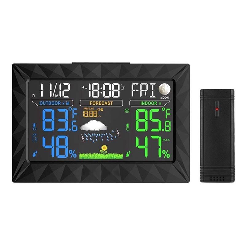 Trạm điện tử không dây với màn hình hiển thị LCD Báo Thức Thời Tiết