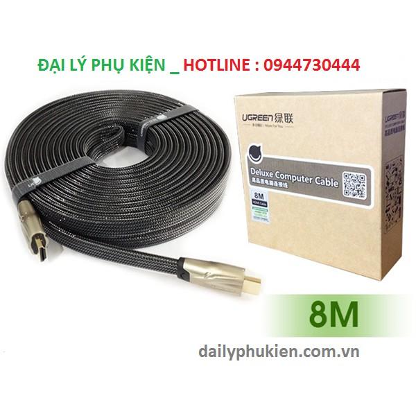 Cáp HDMI 8m dây dẹt Ugreen 10255 Hỗ trợ 3D, 4K x 2K, HD1080P