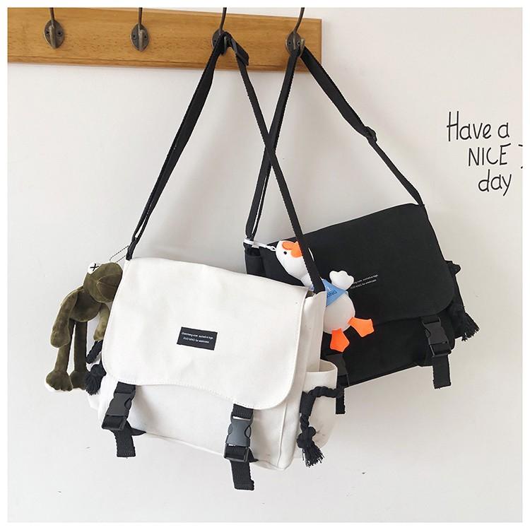 Túi vải, Cặp đeo chéo đi học Canvas thời trang giá rẻ BAG U (không kèm gấu) DTC13