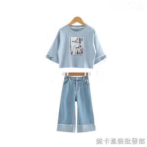Set Áo Thun Dài Tay Cổ Tròn+quần Jeans Dài Thời Trang Cho Bé Gái