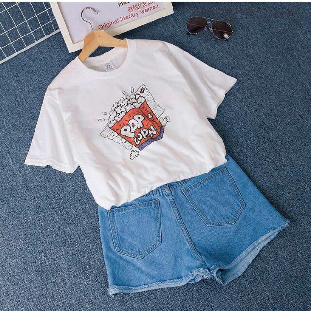 Áo thun cotton nữ tay ngắn in hình