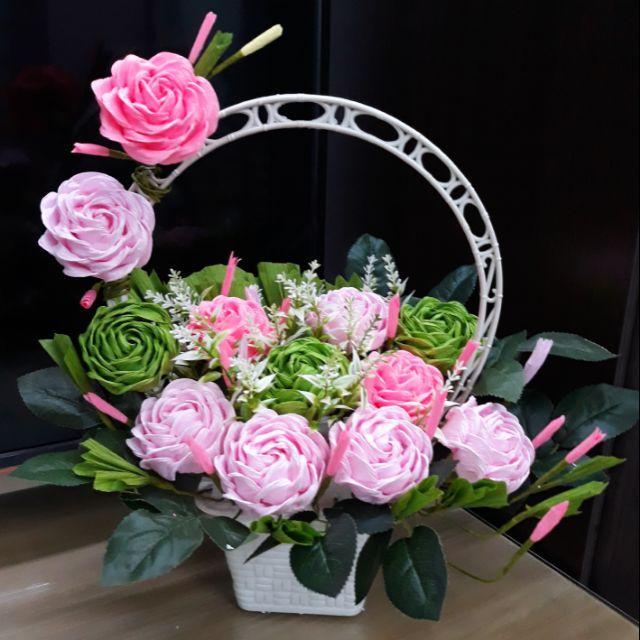 Giỏ hoa giấy nhún