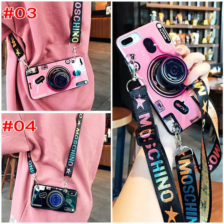 Ốp điện thoại cho OPPO A53 A52 A92 A91 A31 A9 A5 A12 A7 A5S A3S A1K A83 A71 A57 A39 A37 F11 F9 F7 F5 F3 F1s Pro Realme 5 5i 5s C3 C2 C1 Pro 2020 3D Couple Camera Pattern Soft Case Cover+dấu ngoặc+Dây buộc