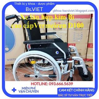 Xe lăn Bỉ khung nhôm cao cấp Vermeiren D100- Tay đẩy có phanh 2 bên, bánh xe to bằng cao su đặc, để chân có thể tháo rời thumbnail