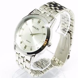 Đồng hồ nam nữ HALEI mặt bạc với khung thép cao cấp sang trọng đỉnh cao