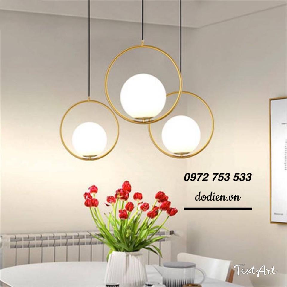 Đèn thả 3 đèn bàn ăn phòng khách quả cầu thủy tinh decor