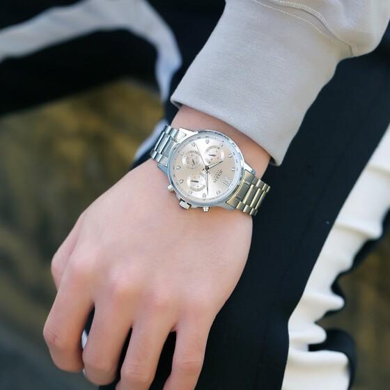 Đồng hồ nam JAH-113A Julius Home Hàn Quốc dây thép bạc (mặt trắng)