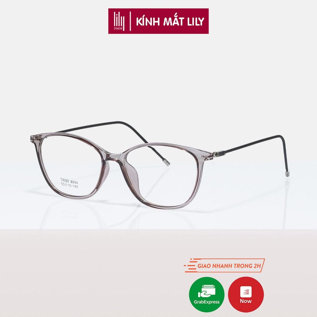 Gọng kính cận mắt mèo Lilyeyewear , mắt kính nhựa phối càng kính kim loại bọc cao su 8094