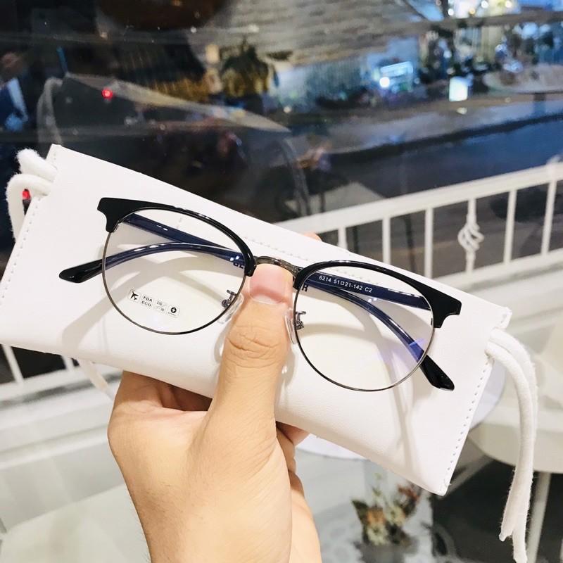 Gọng kính nam nữ BucShop kim loại càng nhựa, mắt tròn, nhiều màu - Y6214